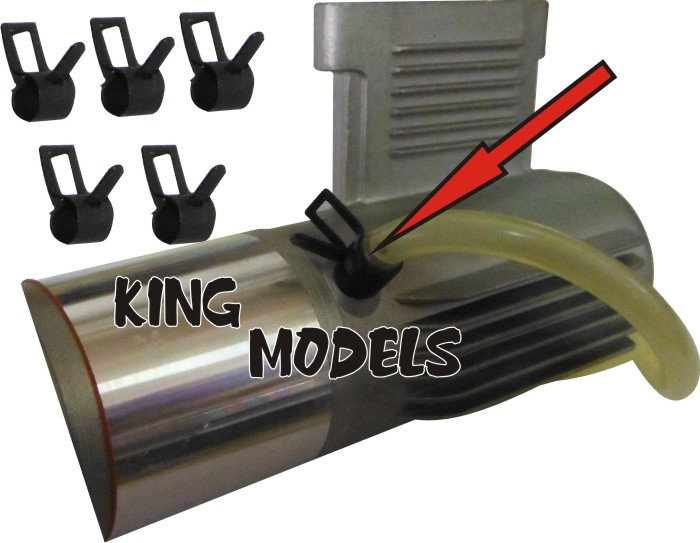Conjunto De 5 Grampos 6mm Para Mangueira - Glow ou Gasolina  - King Models