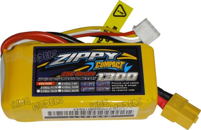 Lipo Zippy/compact 3s 11,1v-25/35c - 1300mah  - King Models