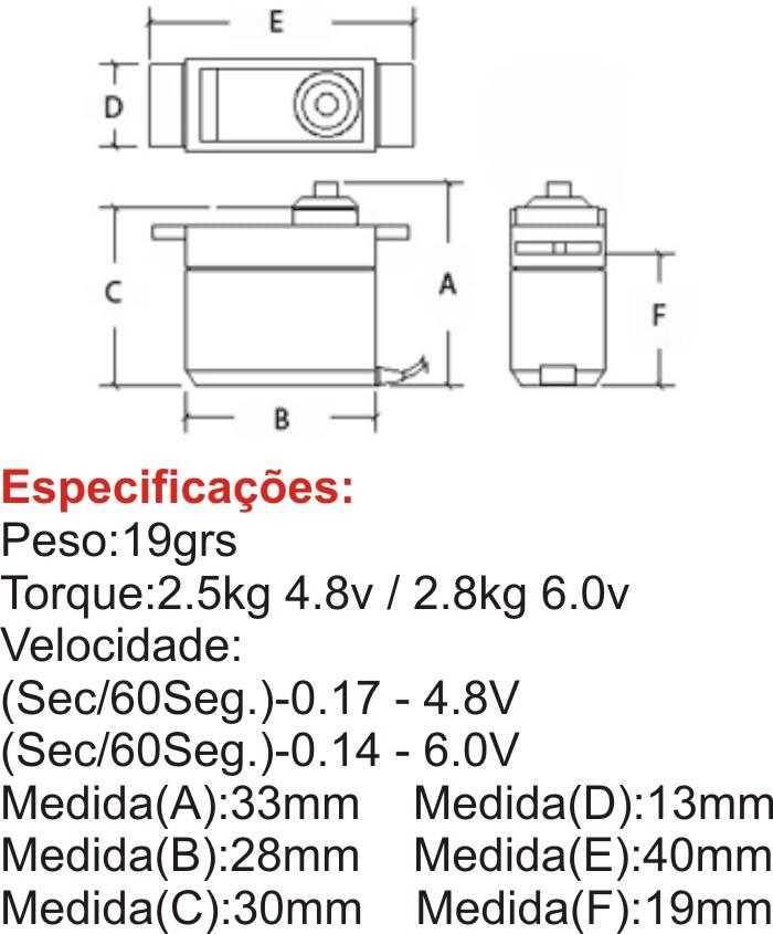 Micro Servo Digital-19grs-hk-2.5kg/metal Gear/servo De Força  - King Models