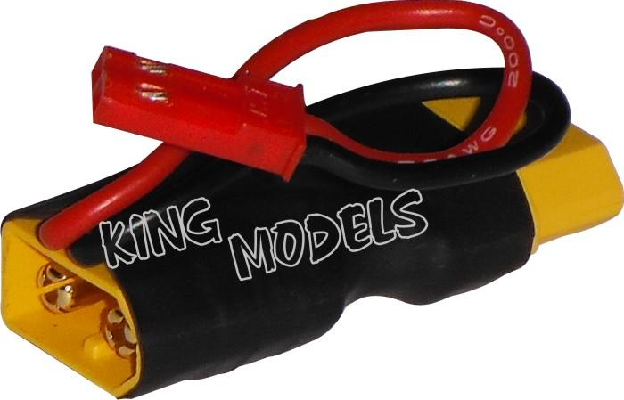 Plug Adaptador XT60 Fêmea para XT60 Macho com Saída Auxiliar JST para FPV  - King Models