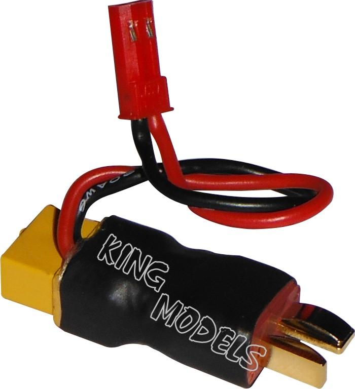 Plug Adaptador XT60 Fêmea para Dean Macho com Saída Auxiliar JST para FPV  - King Models