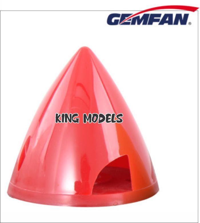Spinner Nylon Gemfam 63mm Bi-pá Vermelho eixo 8mm  - King Models