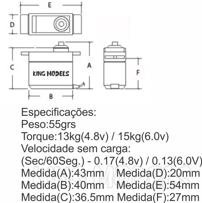 Servo Digital 55g Tower Pro - Alto Torque 15kg - Metal Gear  - King Models