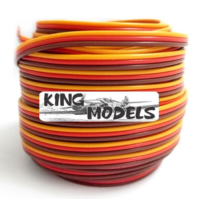 Fio Flat Awg 26 - 3 Cores - Montagem De Extensão De Servos  - King Models