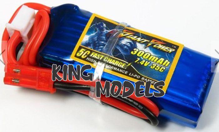 Lipo Giant 2s-7,4v-300mah - 35c + Cabo Jst Adaptador Brinde   - King Models