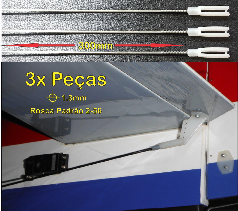 3pçs Arame Aço 1.8mm x 300mm c/ Rosca 2-56 + Clevis Nylon   - King Models