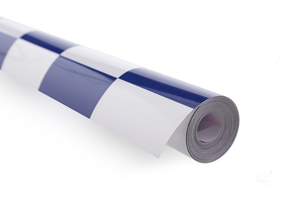 Chinakote (monokote)- Xadrez Azul/branco - 5cm  - 640mm - 1x Metro  - King Models