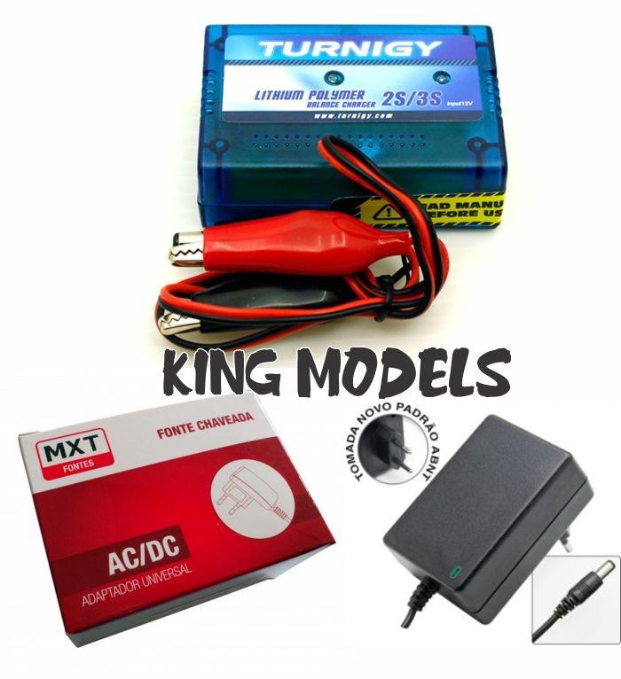 Conjunto Carregador Li-po 2e3s + Fonte12v-2a - Bivolt  - King Models