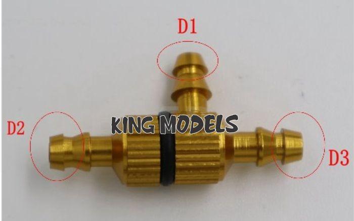 Filtro De Combustível Em 3 Vias Para Aeros Glow Ou Gasolina  - King Models