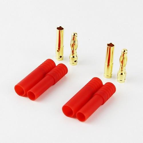 Conector Hxt ( Bullet ) 4mm Com Capa De Isolamento - 2x Pçs  - King Models