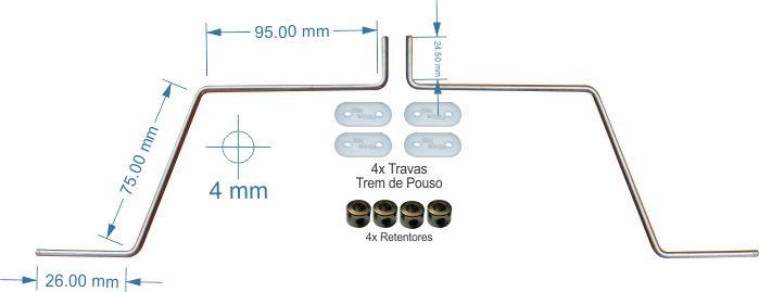 Trem De Pouso P/ Aero Asa Baixa - Fixação Asa - .20 A .40  - King Models