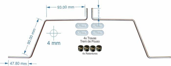 Trem De Pouso P/ Aero Asa Baixa - Fixação Asa - .46 A .55  - King Models