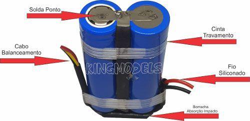 Bateria Life Rontek 2s - 6.4v - 3300mah - 8c - Cilíndrica  - King Models