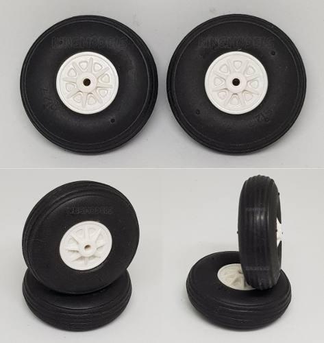 Roda De Borracha Para Aeros - 35mm - Cubo Em Nylon - 2x Pçs  - King Models