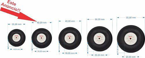 Roda De Borracha Para Aeros - 40mm - Cubo Em Nylon - 2x Pçs  - King Models