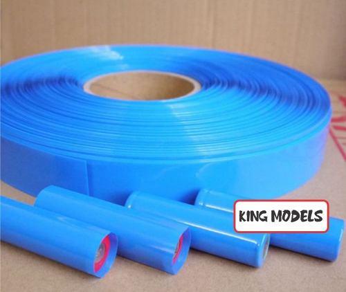 Termo Retrátil Azul Pvc 36mm(chato)-diam22mm- Bat 18650 5mts  - King Models