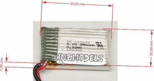 Lipo 1s-3.7v-250mah Mini Drones / Helis E Muitos Outros!!!  - King Models