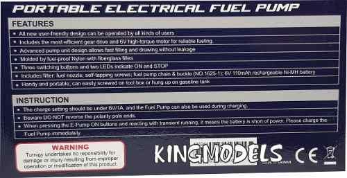 Bomba Abastecimento Elétrica Para Glow Ou Gas Com Bateria!!  - King Models