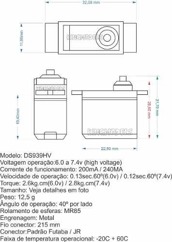 Micro Servo Digital Corona Metal Gear Ds939hv Top Linha!!!  - King Models