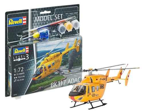 Revell - Bk117 Adac - Esc1:72 - Level 3 Model Set - Completo  - King Models