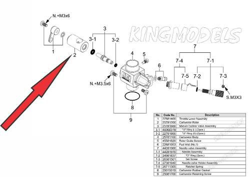 Cilindro Carburador Motor Os Engine 46axii 55ax Cod 25781200  - King Models