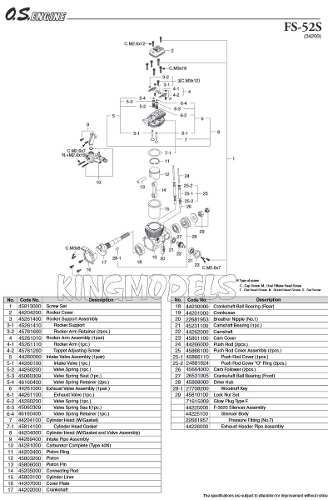 Kit 4pçs Comando De Válvula Os Engines Fs48/52 Cód.44260000  - King Models