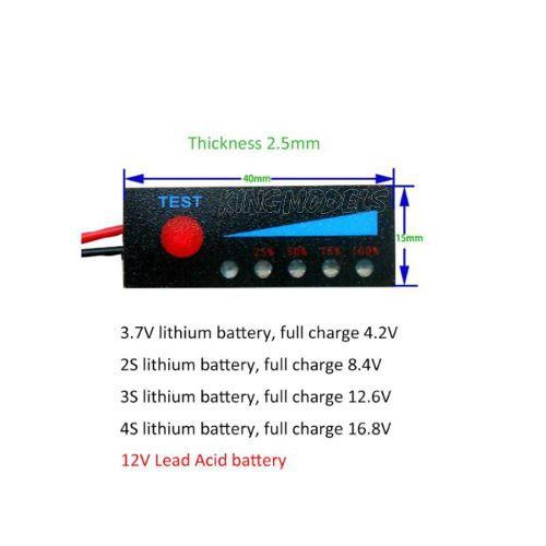 Monitor De Carga De Bateria Lipo Ou Liion 2s - 6.6v A 8.4v  - King Models