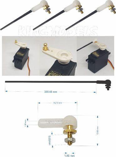 3pç Vareta M2x 300mm C/ Rosca + Clevis C/ Stopper Ball Link  - King Models