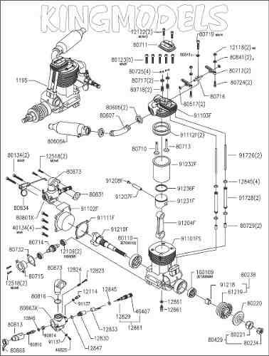 Bloco Para Motor Glow Asp 91 4 Tempos Com Rolamentos!!!!  - King Models