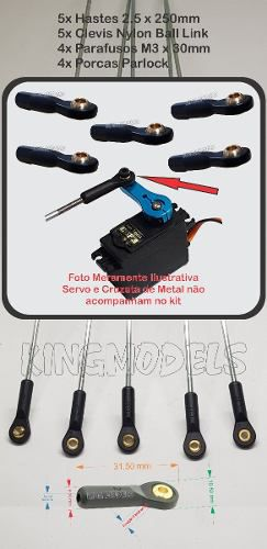 Arame Aço 2.5mm X 250mm + Clevis Ball Link - Linkagem -5pçs  - King Models