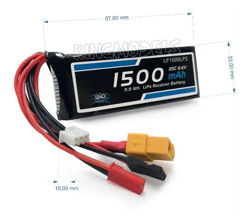 Bateria Life Leão 2s - 6.6v 1500mah 10c Futaba/jst/xt60 Top!  - King Models