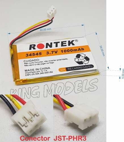 Bateria De Li-po Prismática 1s 3.7v 1000mah Uso Geral C/pcb  - King Models
