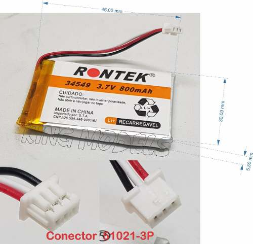 Bateria De Li-po Prismática 1s 3.7v 800mah Uso Geral C/ Pcb  - King Models