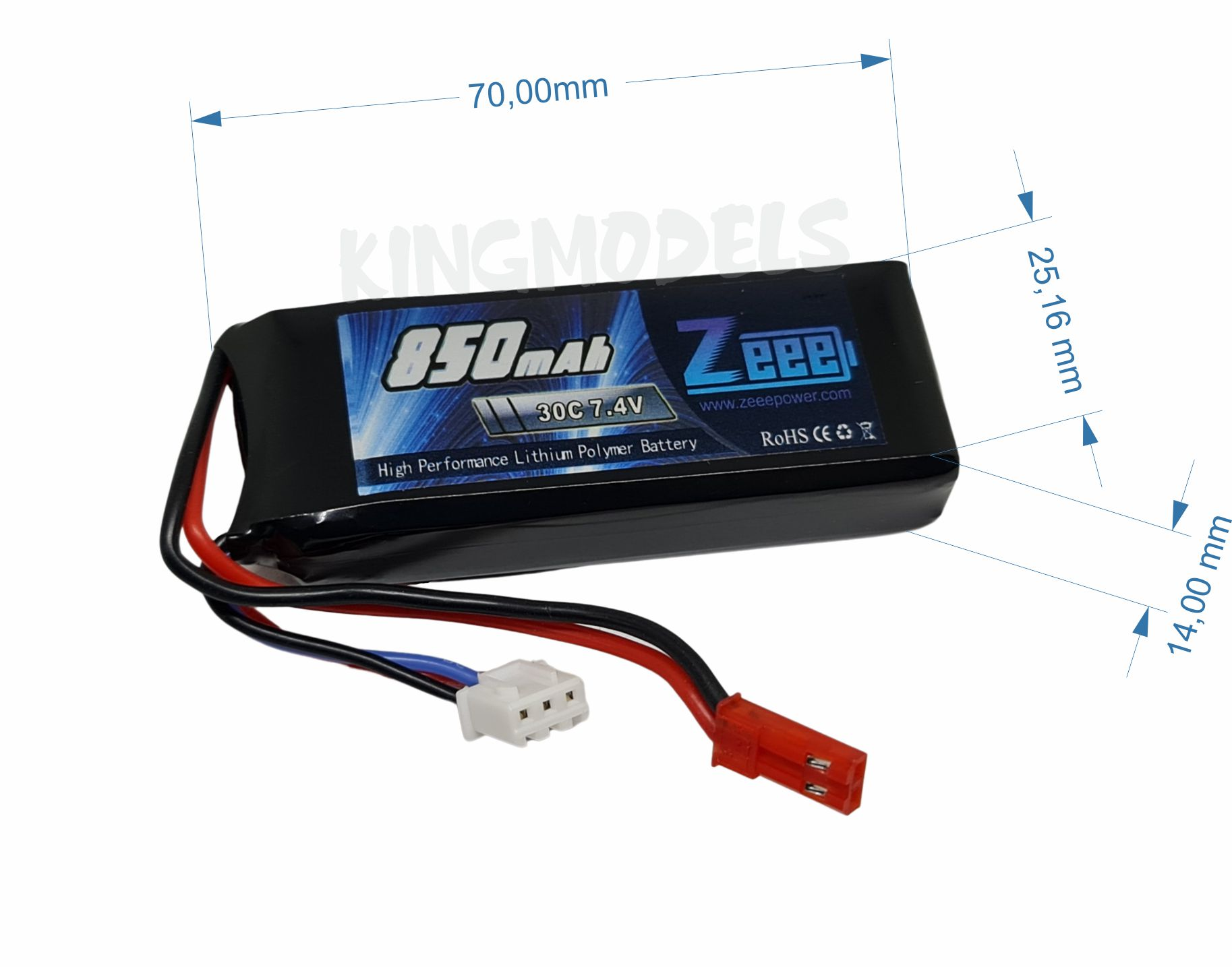 Bateria Lipo 2s 7.4v - 850mah - 30c - Jst - Top Linha  - King Models