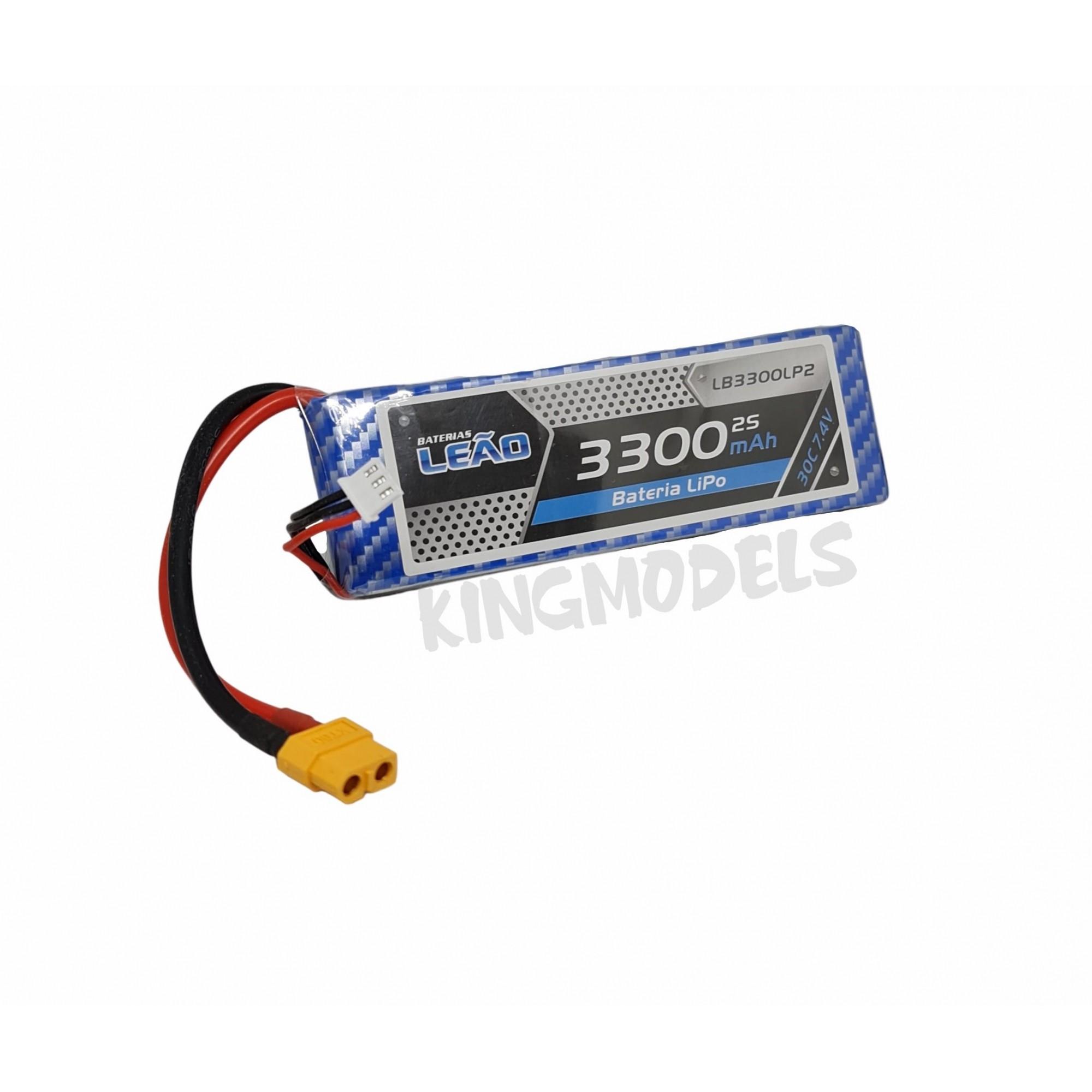 Bateria Lipo Leão 2s 7.4v - 3300mah - 30/60c  - King Models