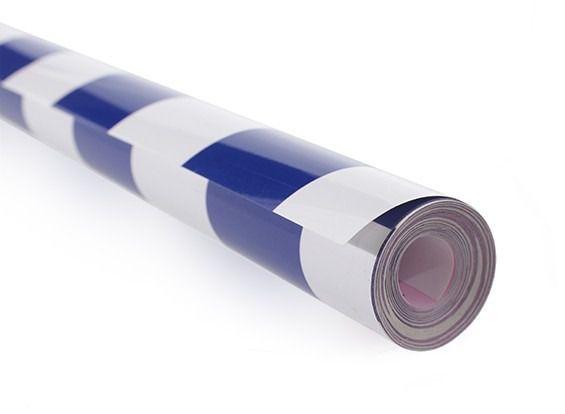 Chinakote (monokote)- Xadrez 3cm - Azul/bco - 640mm -1xmetro   - King Models