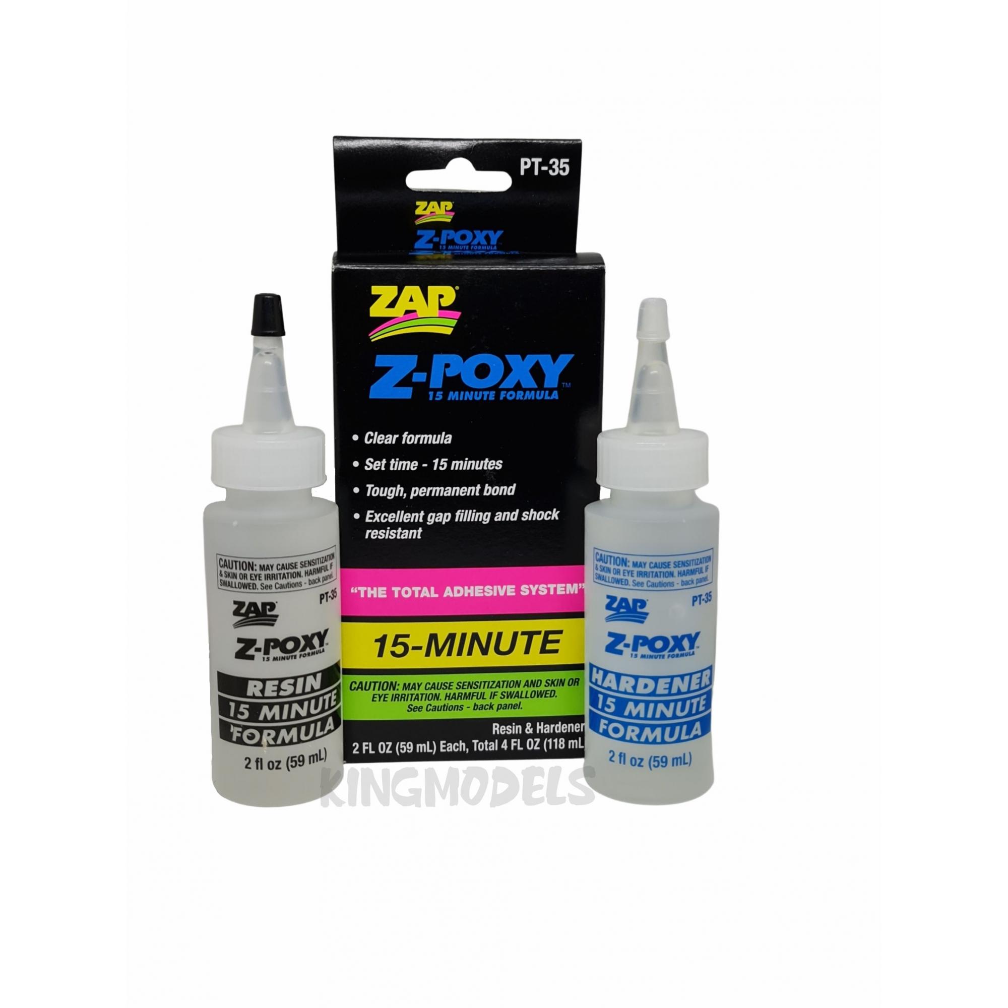 Cola Epóxi ZAP Para Reparos Em Aeros - Cura-15min - 2x59ml   - King Models