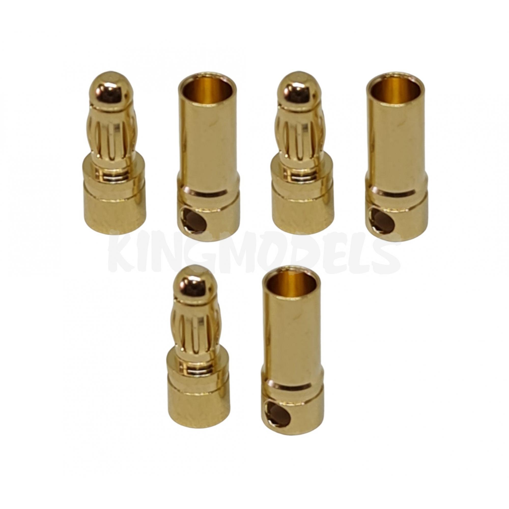 Conector Bullet(banana) 3.5mm para motores elétricos - 3 x Pares  - King Models
