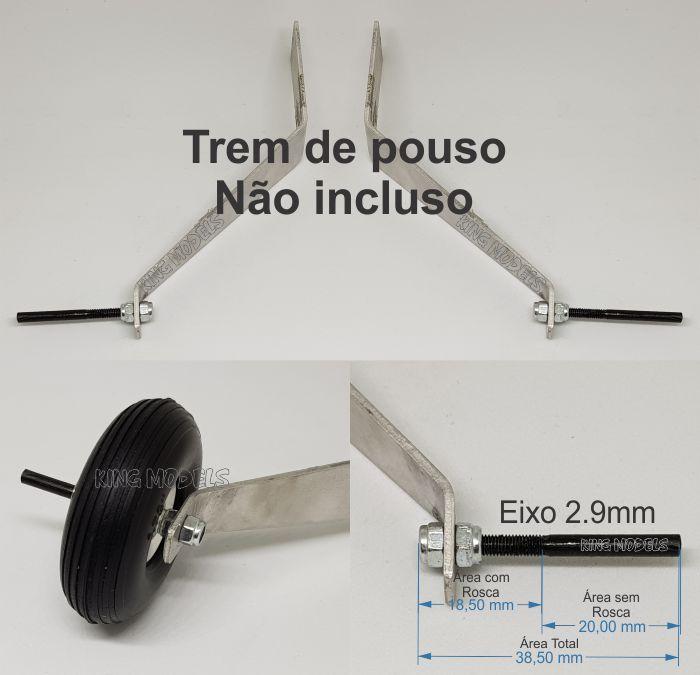 Conjunto De 2 Eixos Para Trem De Pouso - Lynx - 2.9mmx38.5mm  - King Models