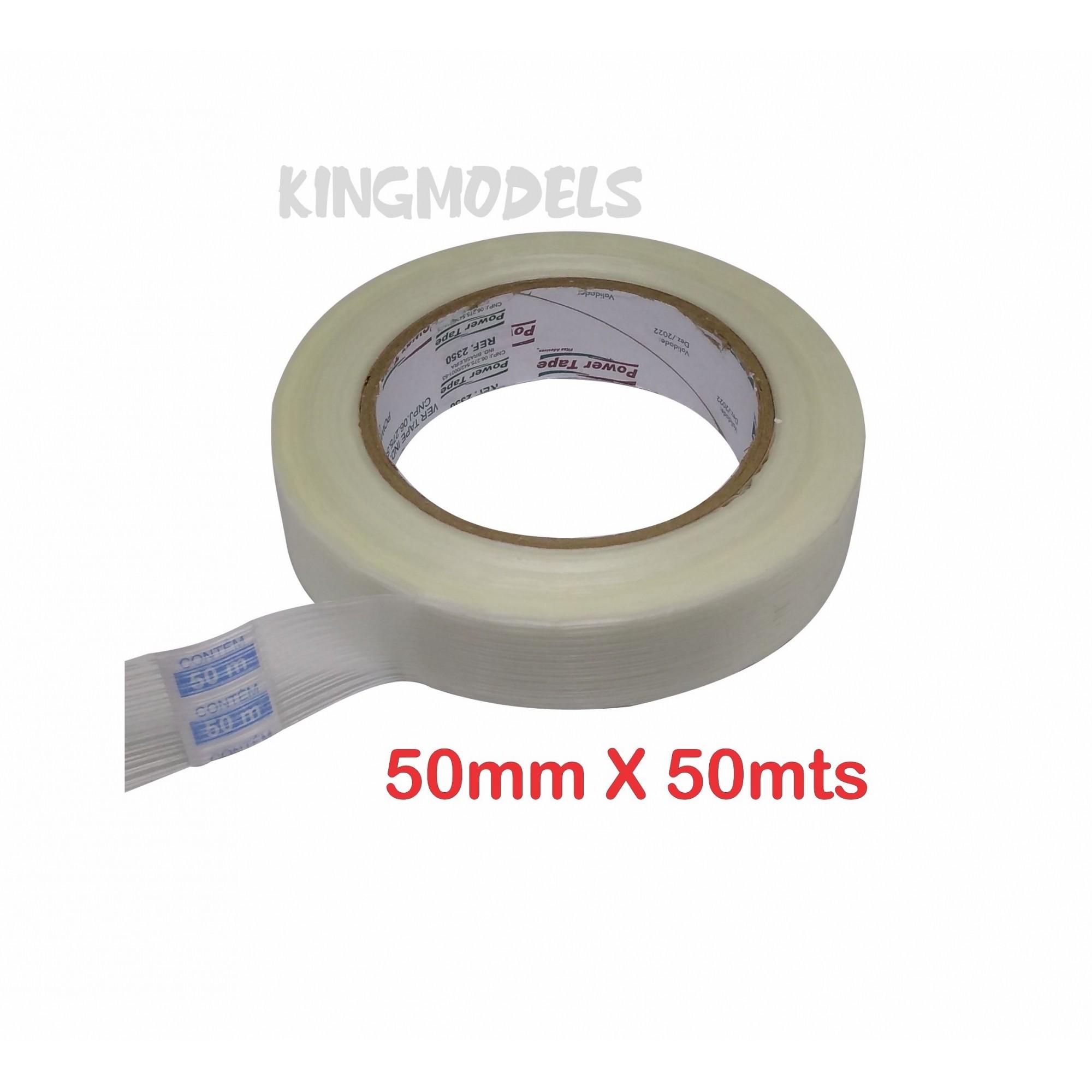 Fita Filamentosa Em Pp - 50mm X 50mts - Reforço Aeromodelo  - King Models