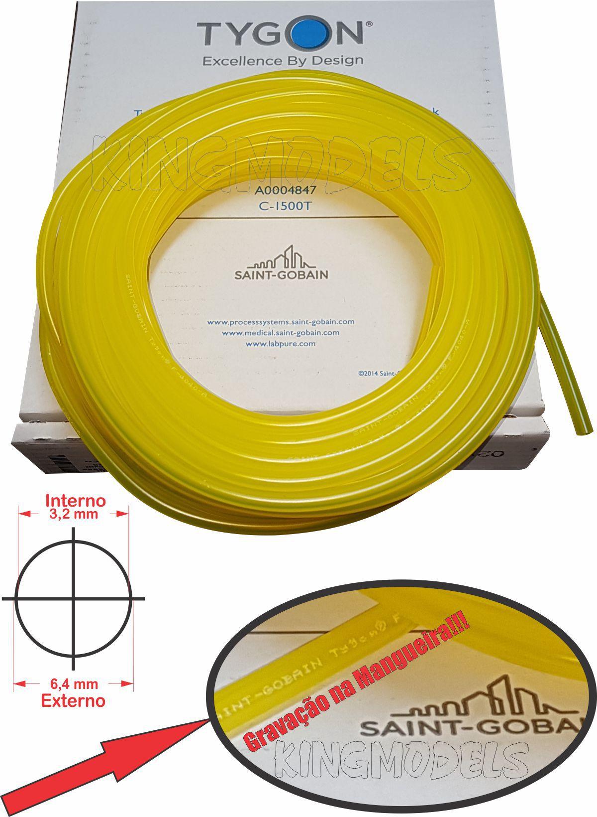 Mangueira Original Tygon Saint Gobain 6x3 (1/8) - Aero Gasolina Larga Escala  - King Models