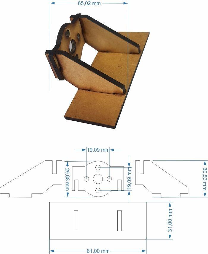 Montante Asa Zagui Em Mdf - Corte A Laser - Motor Série 28xx  - King Models