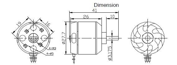 Motor Brushless Rctimer 2212/10-1400kv-205w+montante/spinner  - King Models
