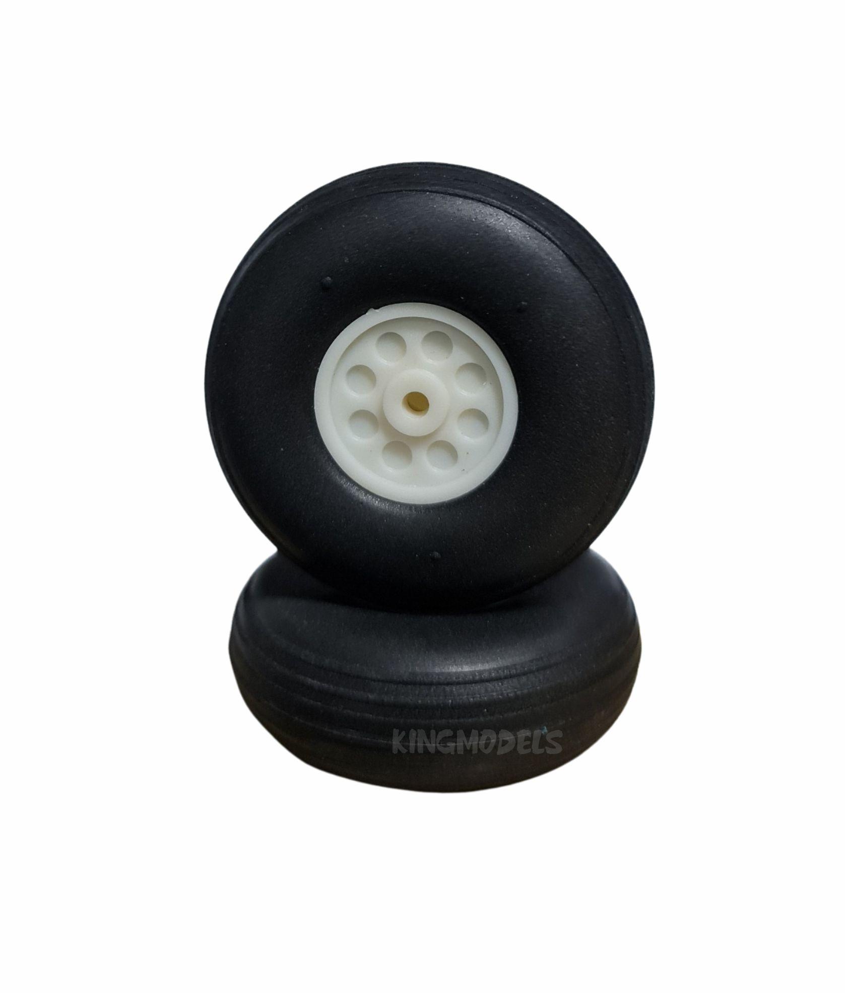 Roda De Borracha Extra-leve E Cubo Nylon-25mm - (2pçs)  - King Models