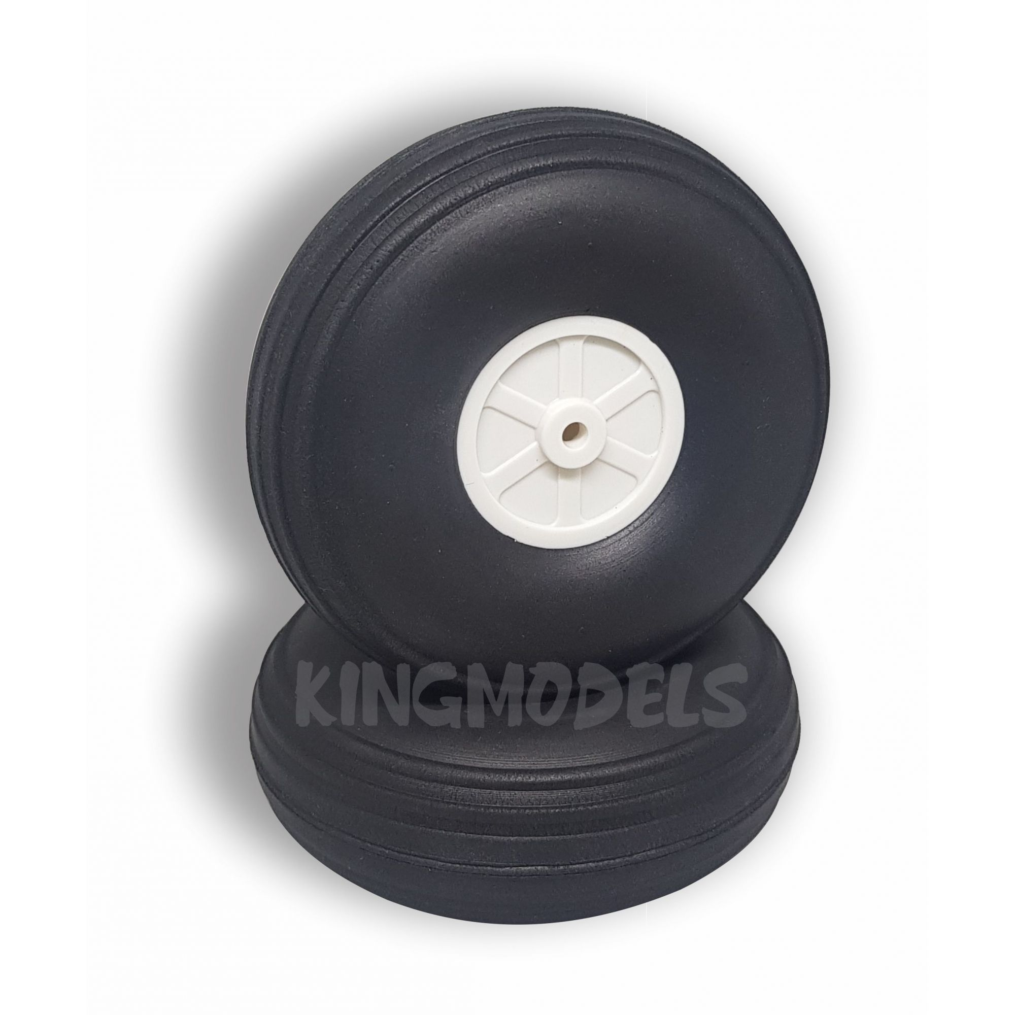 Roda De Borracha Extra-leve E Cubo Nylon- 57mm - (2pçs)  - King Models
