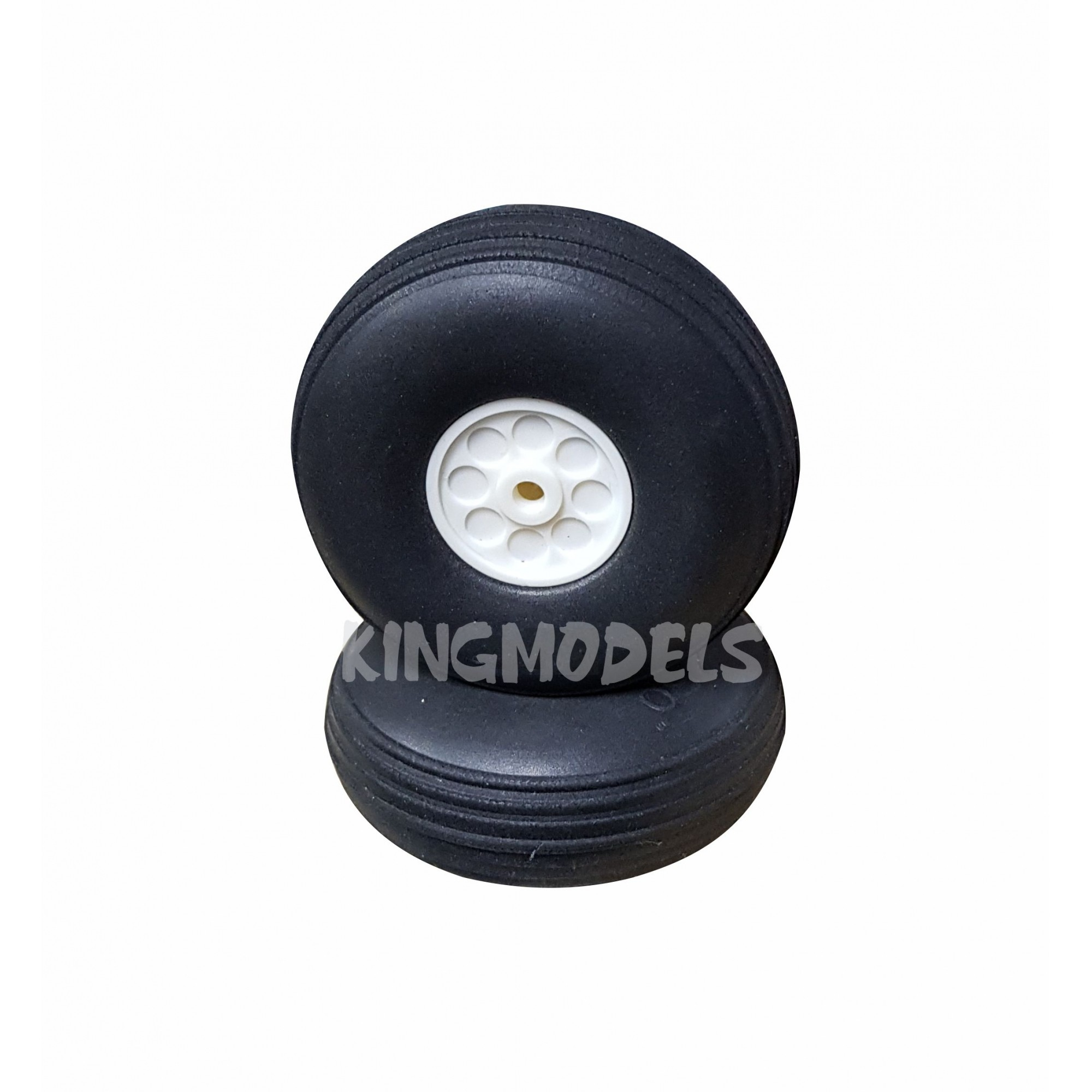 Roda De Borracha Extra-leve E Cubo Nylon- 63mm - (2pçs)   - King Models