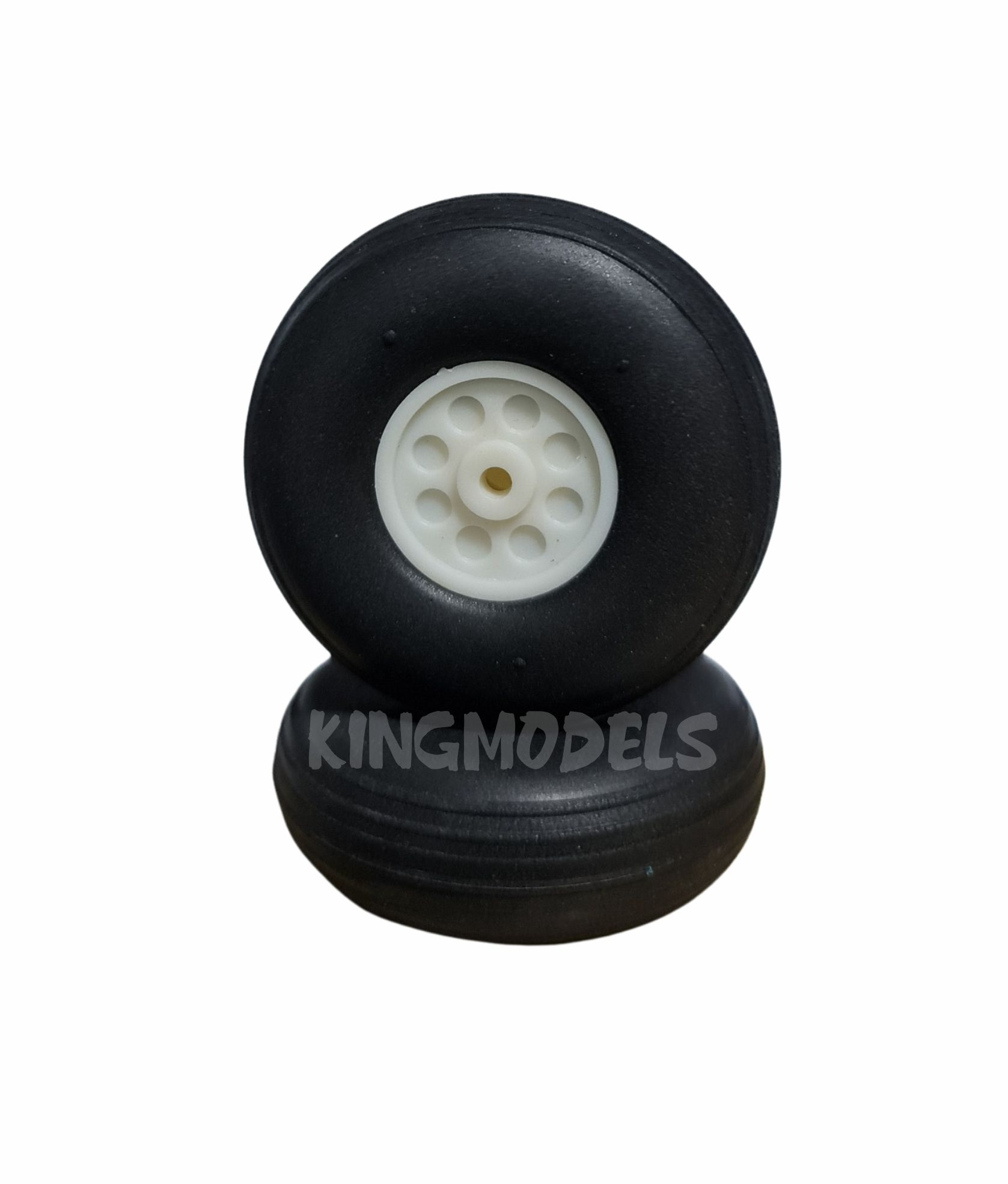 Roda De Borracha Extra-leve E Cubo Nylon- 63mm - (2pçs)  - King Models