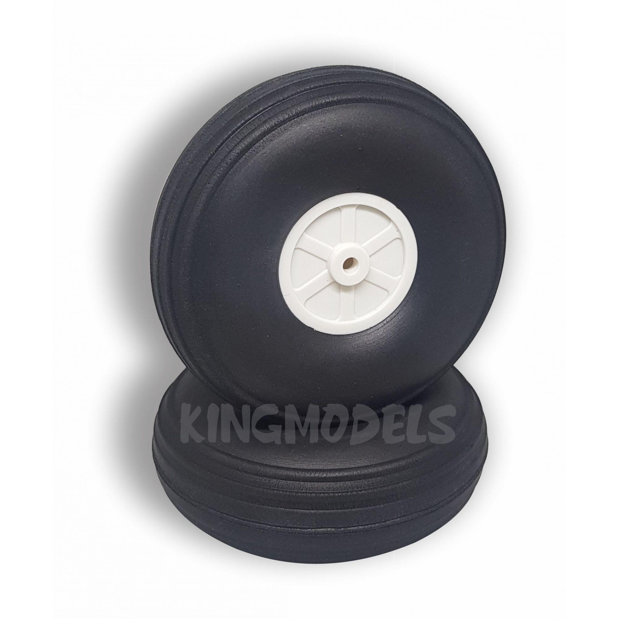 Roda De Borracha Extra-leve E Cubo Nylon-89mm - Unidade  - King Models