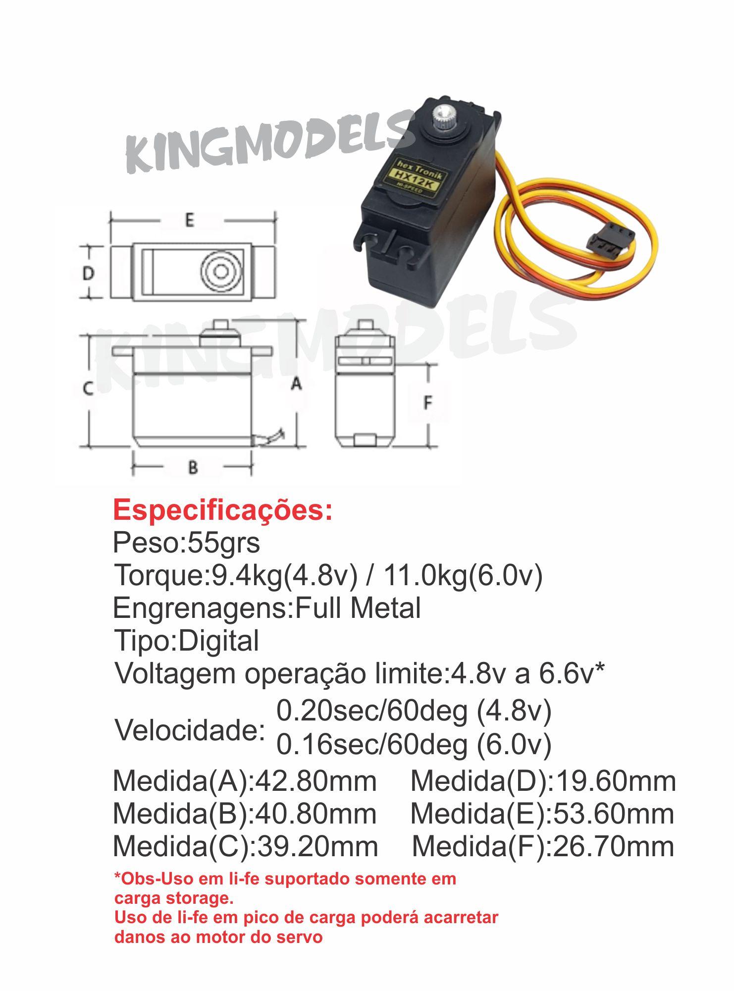 Servo Hextronic Alto Torque 10kg - Hxt12k - Digital!!!  - King Models