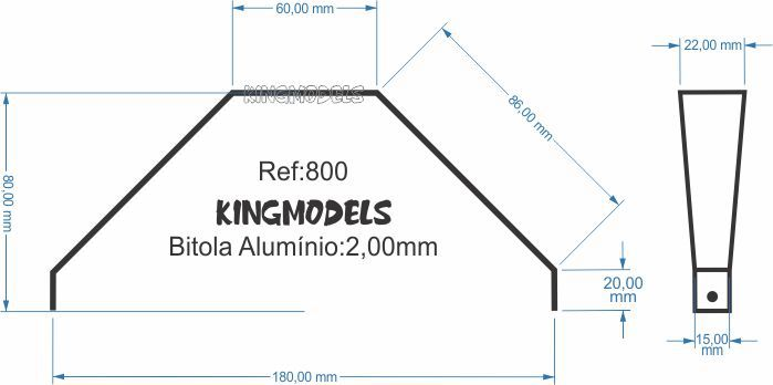 Trem De Pouso De Alumínio Para Aeromodelos - Tamanho Médio - Cód.800  - King Models